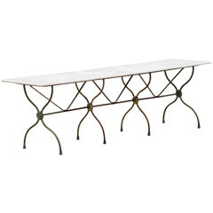 Long French Bistro Table with Marble Top, circa 1890