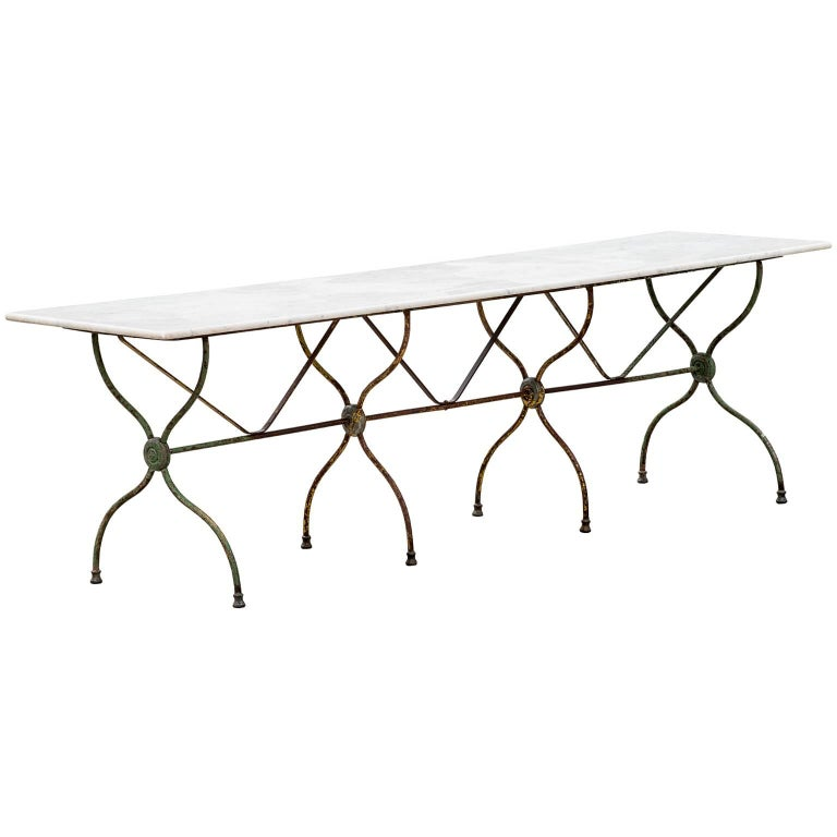 Long French Bistro Table with Marble Top, circa 1890 For Sale