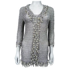 A Loris Azzaro Evening Jacket in Silver Lurex Embroidered with Pearls Circa 1970