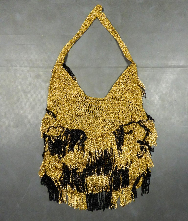 Black A Loris Azzaro French Couture Top in Lurex  Circa 1970 For Sale