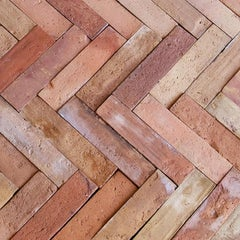 Lot of 6500 Sf of Antique French Terra Cotta Pavers Briques