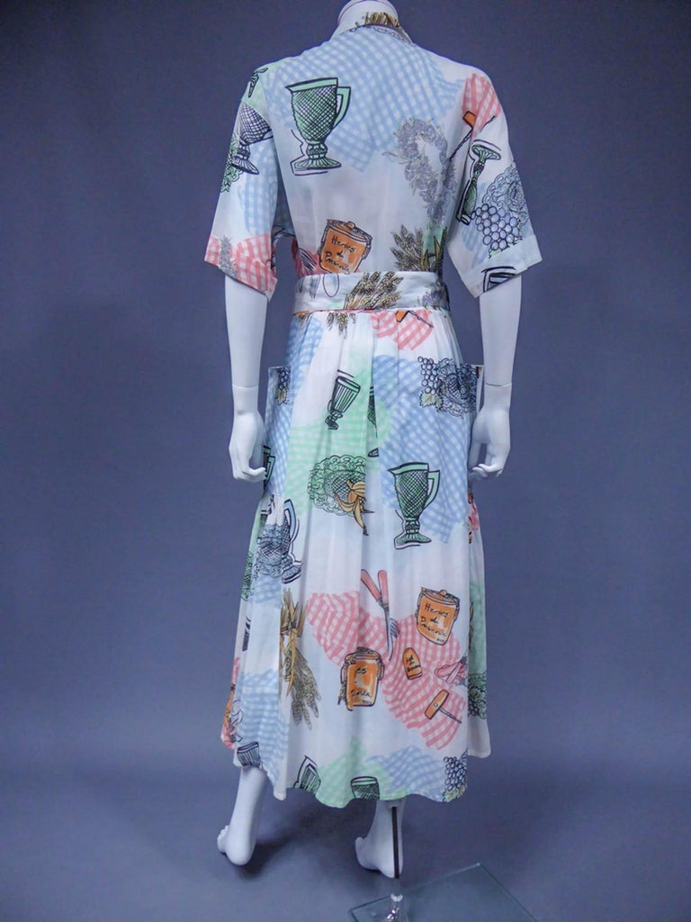 A Louis Féraud Dress in Printed Polyamide Circa 1970 For Sale 4