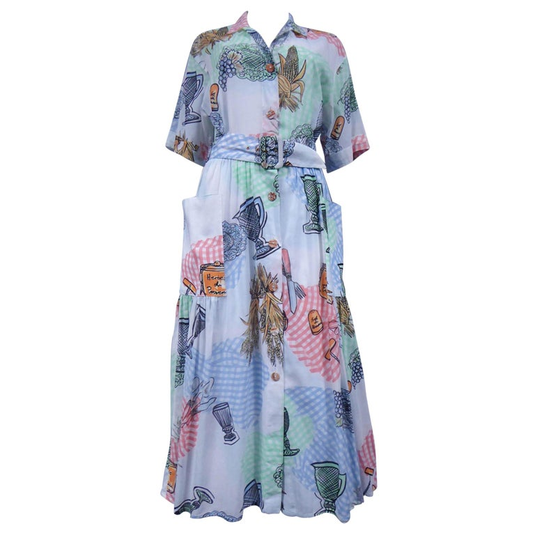 A Louis Féraud Dress in Printed Polyamide Circa 1970 For Sale