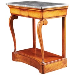 Louis Philippe Cherrywood Console Table with Grey Marble Top