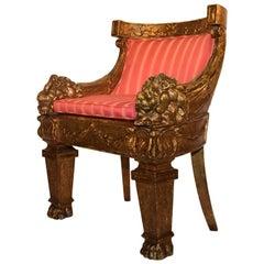Louis XIV Style Giltwood Barrel Back Lion Chair