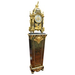Louis XV Boulle Pedestal Clock, Movement signed Duval Paris