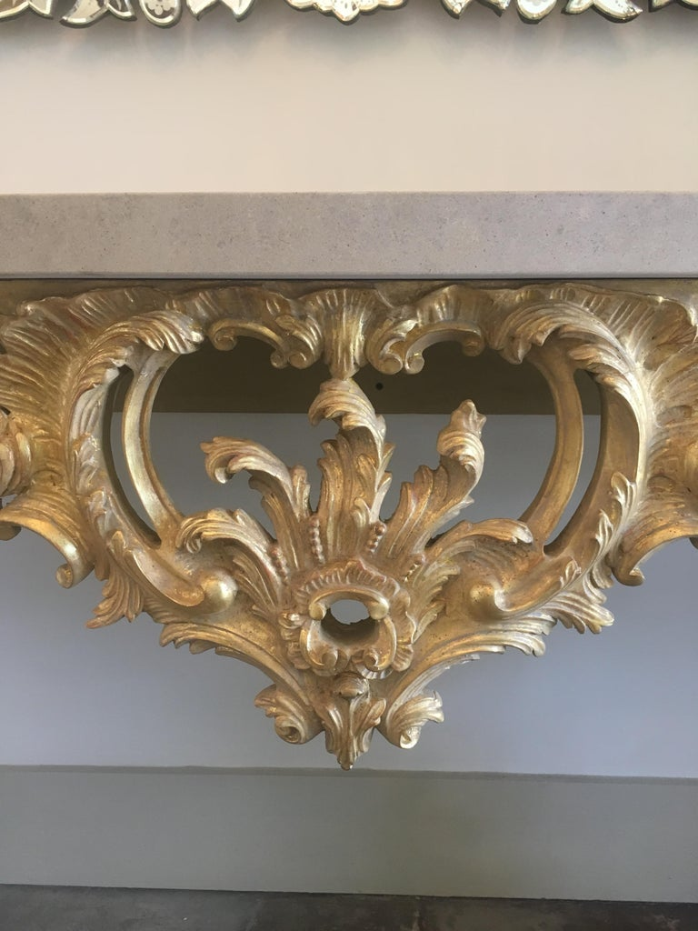 Rococo Louis XV Style Carved and Gilded Wood Console Table For Sale