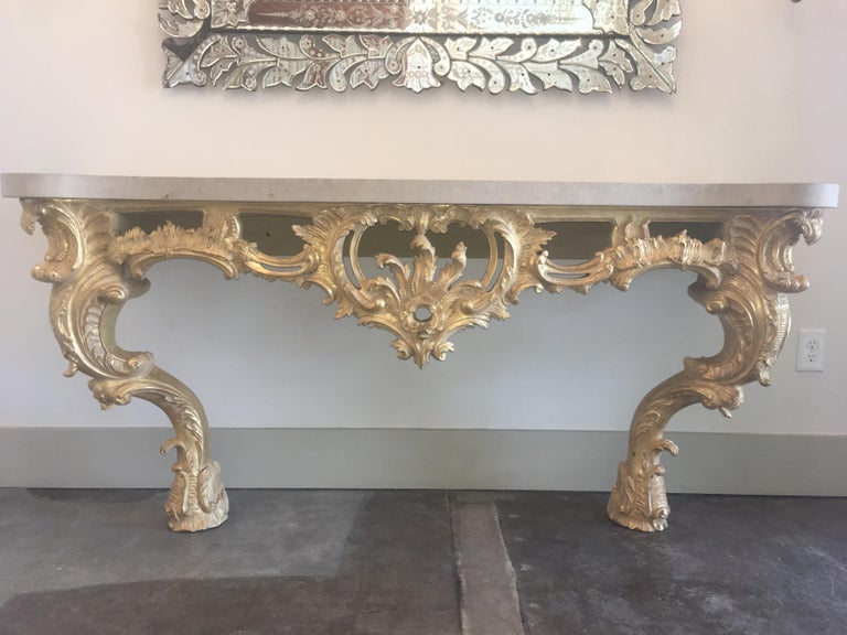 Stone Louis XV Style Carved and Gilded Wood Console Table For Sale