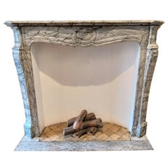 Louis XV-Style Fireplace, Named Pompadour, in Bleu Fleuri-Marble