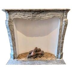 LOUIS XV -Style Fireplace Named Pompadour in Bleu Fleuri-Marble