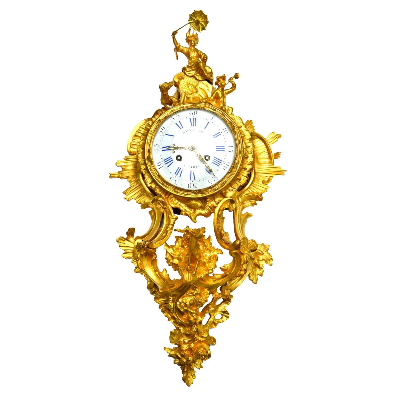 Louis XV Style Gilt Bronze Cartel Clock by Raingo Freres Paris
