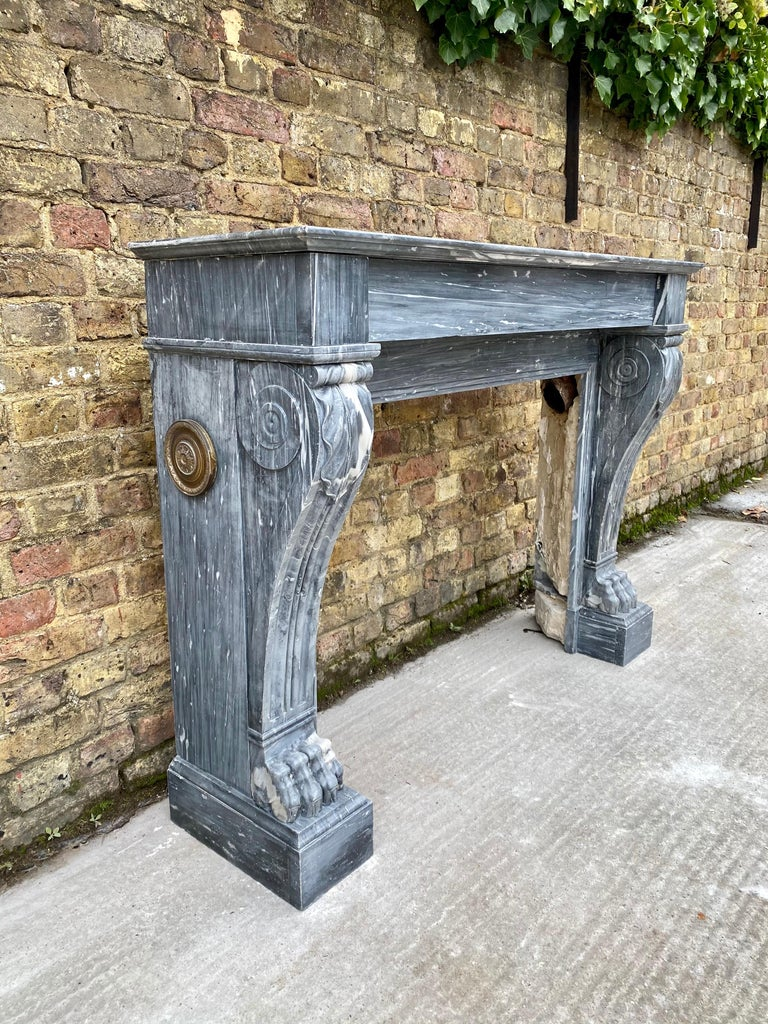 Carved Louis XVI Antique Bardiglio Marble Fireplace Mantel For Sale
