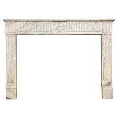 Louis XVI Antique Marble Fireplace Mantel