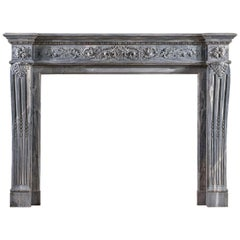 Louis XVI Bardiglio Marble Fireplace