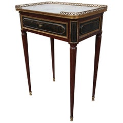 Louis XVI Mahogany, Bronze and Marble Signed Table, France, 18th Century