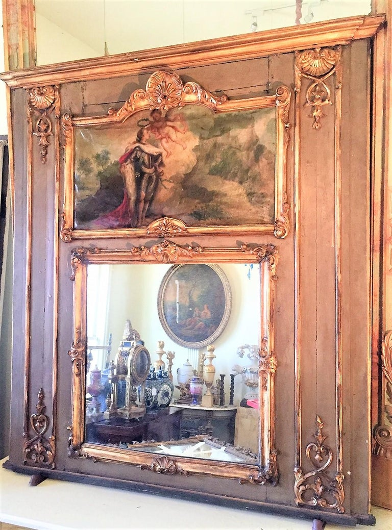 Louis XVI Paint and Giltwood Trumeau with Oil Inset of King For Sale 4
