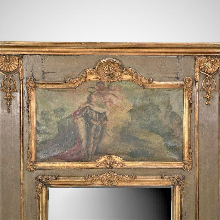 Louis XVI (looks more like Louis XV, but they were grandfather to grandson). Well-worn but sturdy (pegged joints). Grey paint seems original. Minor losses to decoration. Craquelure throughout oil inset. Crease across the top (through the