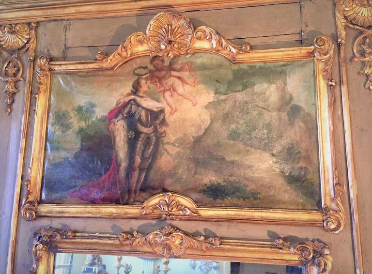 French Louis XVI Paint and Giltwood Trumeau with Oil Inset of King For Sale
