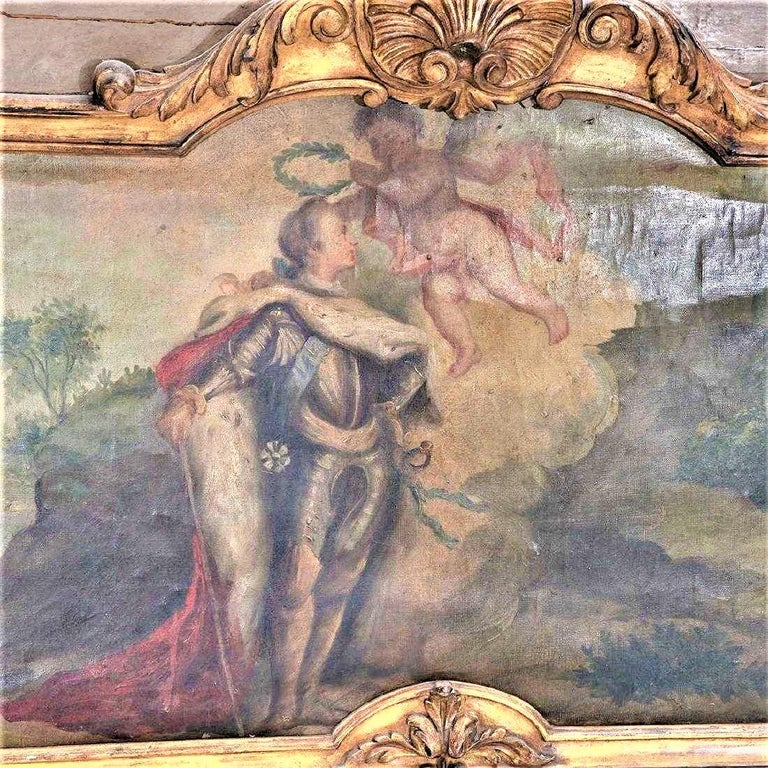 Louis XVI Paint and Giltwood Trumeau with Oil Inset of King In Fair Condition For Sale In Nashville, TN