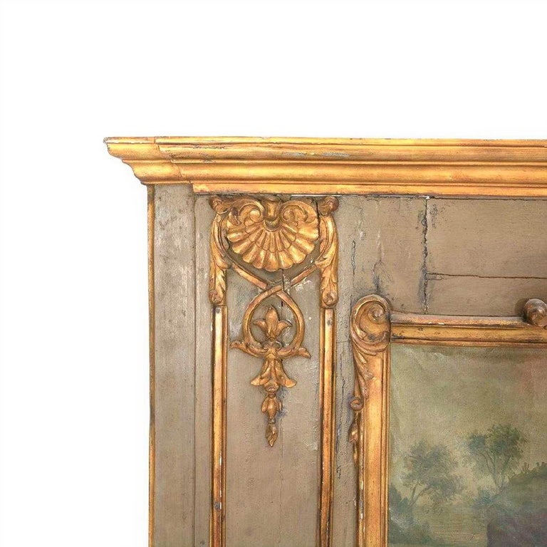 18th Century Louis XVI Paint and Giltwood Trumeau with Oil Inset of King For Sale