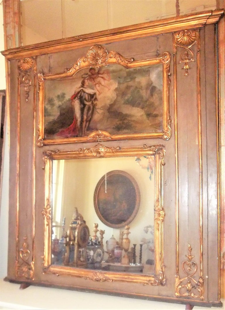 Wood Louis XVI Paint and Giltwood Trumeau with Oil Inset of King For Sale