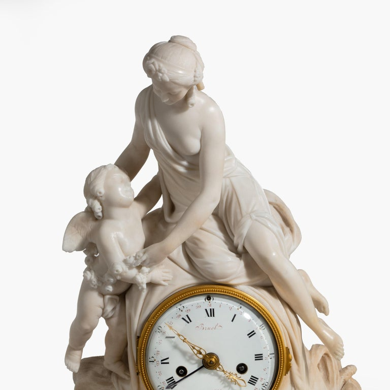 Louis XVI Period Carved Marble Clock by Bruel of Paris In Excellent Condition For Sale In London, GB