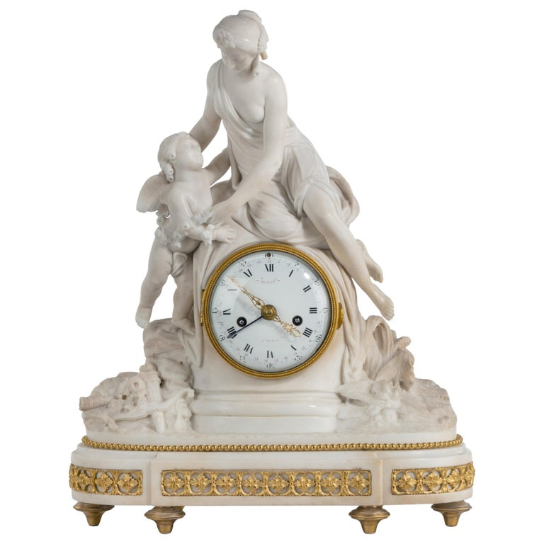 Louis XVI Period Carved Marble Clock by Bruel of Paris For Sale