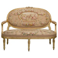 Louis XVI Style Canapé Upholstered with Aubusson Tapestry, circa 1880