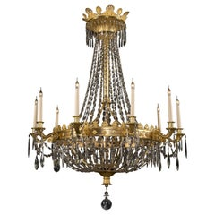 Louis XVI Style Cut-Glass Ten-Light Tent and Bag Chandelier, circa 1900