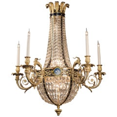 Louis XVI Style Gilt-Bronze and Cut-Glass Basket Chandelier, circa 1900