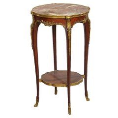 Louis XVI-Style Gilt-Bronze Mounted Marble-Top Side Table
