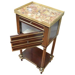 Louis XVI Style Mahogany and Gilt Bronze Marble topped Humidor and Side Table