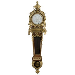 Louis XVI Style Mahogany Cartel Clock and Barometer, After Carlin, circa 1870