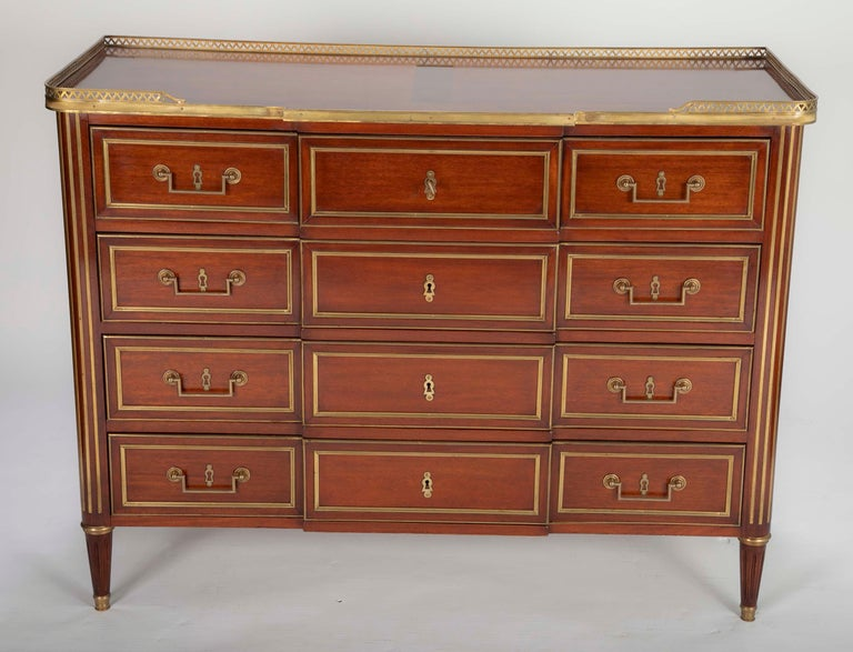 French Louis XVI Style Mahogany Chest of Drawers For Sale