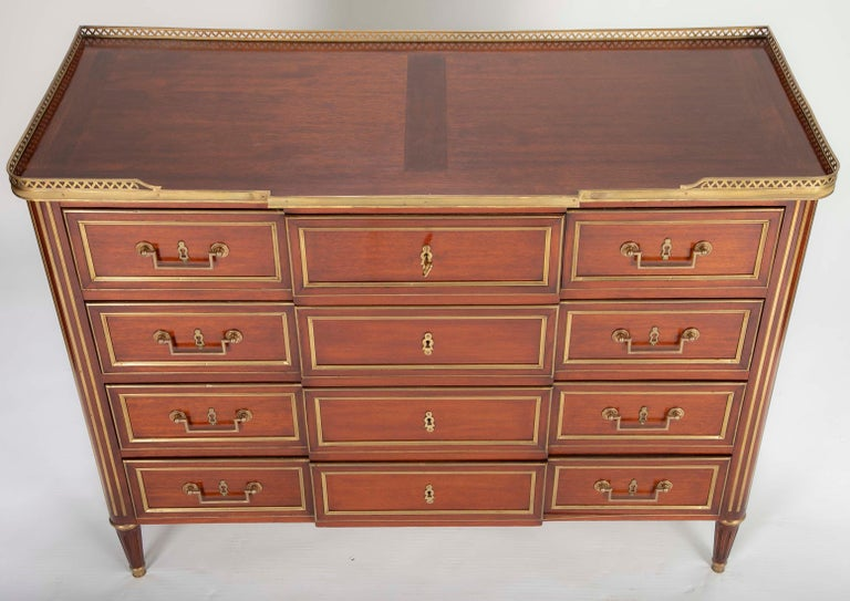 Louis XVI Style Mahogany Chest of Drawers For Sale 3