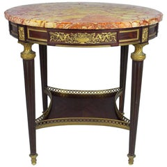Louis XVI-Style Ormolu Mounted with Rouge Marble-Top Round Table