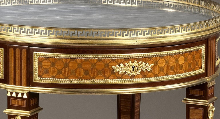 Gilt Louis XVI Style Parquetry Gueridon with a Marble Top, circa 1880 For Sale