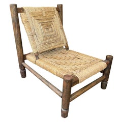 Lovely 1950s Rustic French Rope and Wood Chair by Audoux and Minet