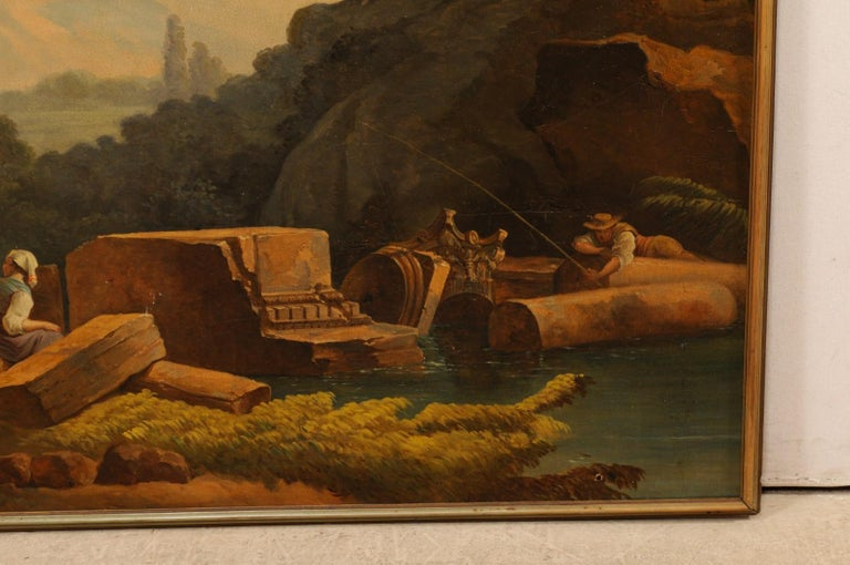 Wood Lovely 19th Century Italian Capriccio Wall Painting For Sale