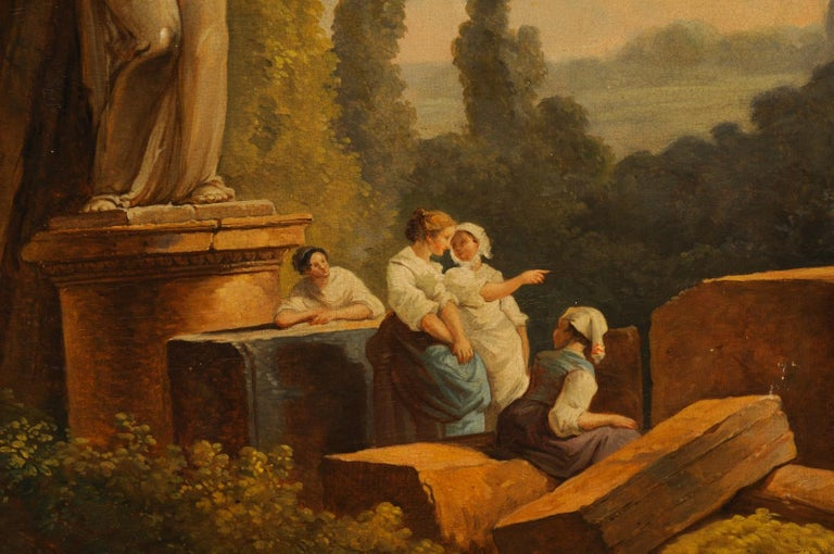 Lovely 19th Century Italian Capriccio Wall Painting For Sale 3
