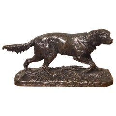 Lovely 19th Century French Bronze Sculpture of a Setter by Pierre Jules Mene
