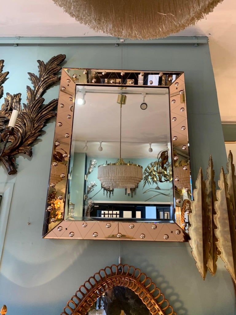 Mid-20th Century Lovely Art Deco Mirror with Rose Mirrored Frame with Convex Circular Detail