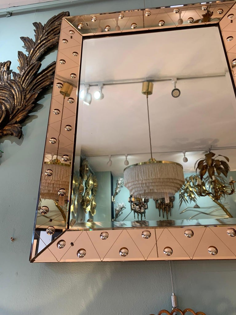 Lovely Art Deco Mirror with Rose Mirrored Frame with Convex Circular Detail 1