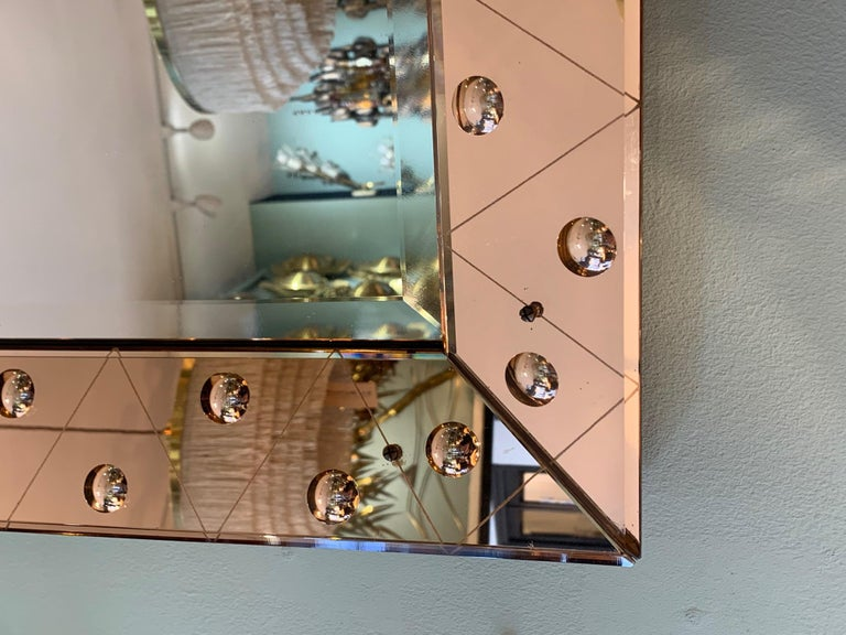 Lovely Art Deco Mirror with Rose Mirrored Frame with Convex Circular Detail 3