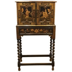 Lovely Edwardian Period Chinoiserie Lacquered Cabinet on Stand