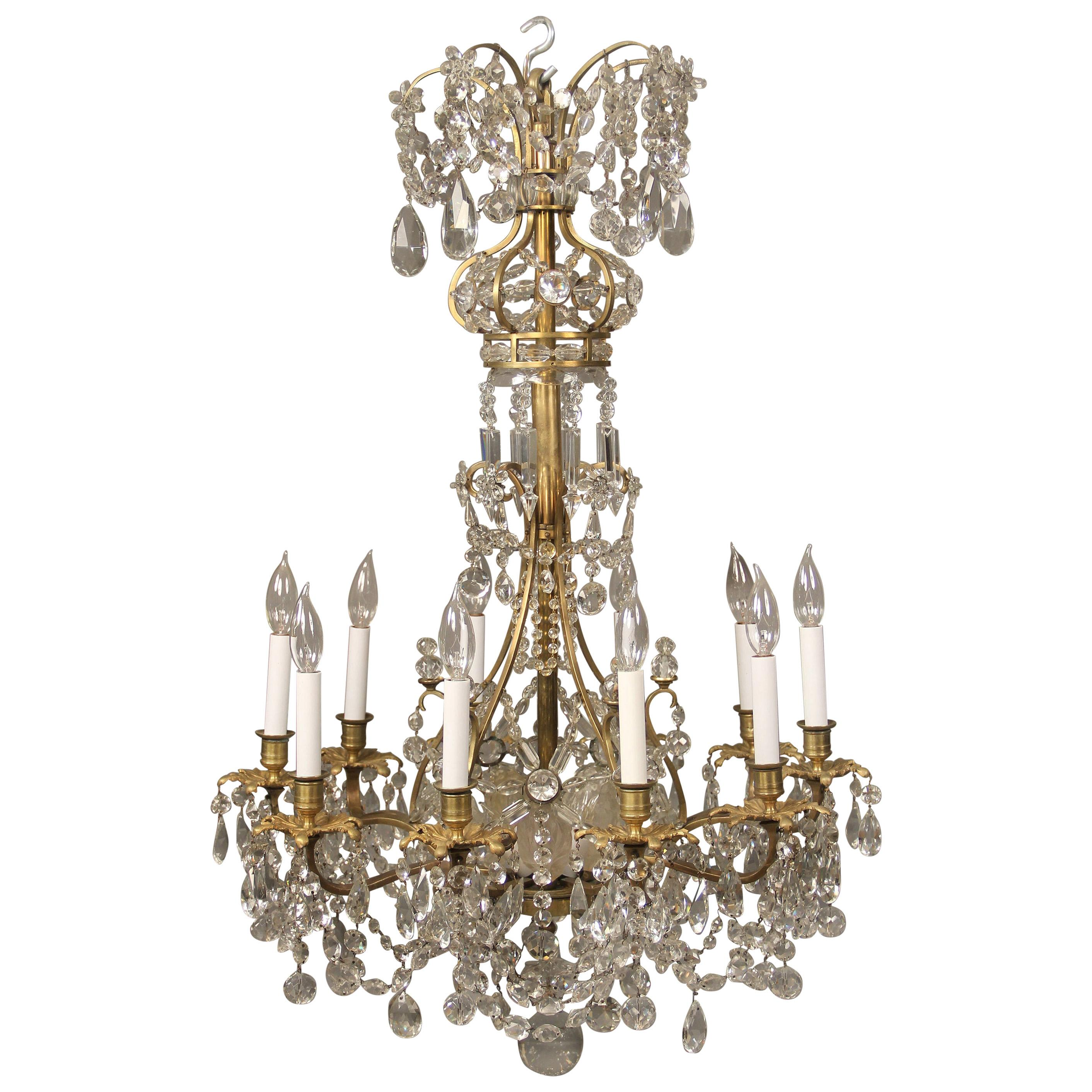 Lovely Late 19th Century Gilt Bronze and Baccarat Crystal Chandelier