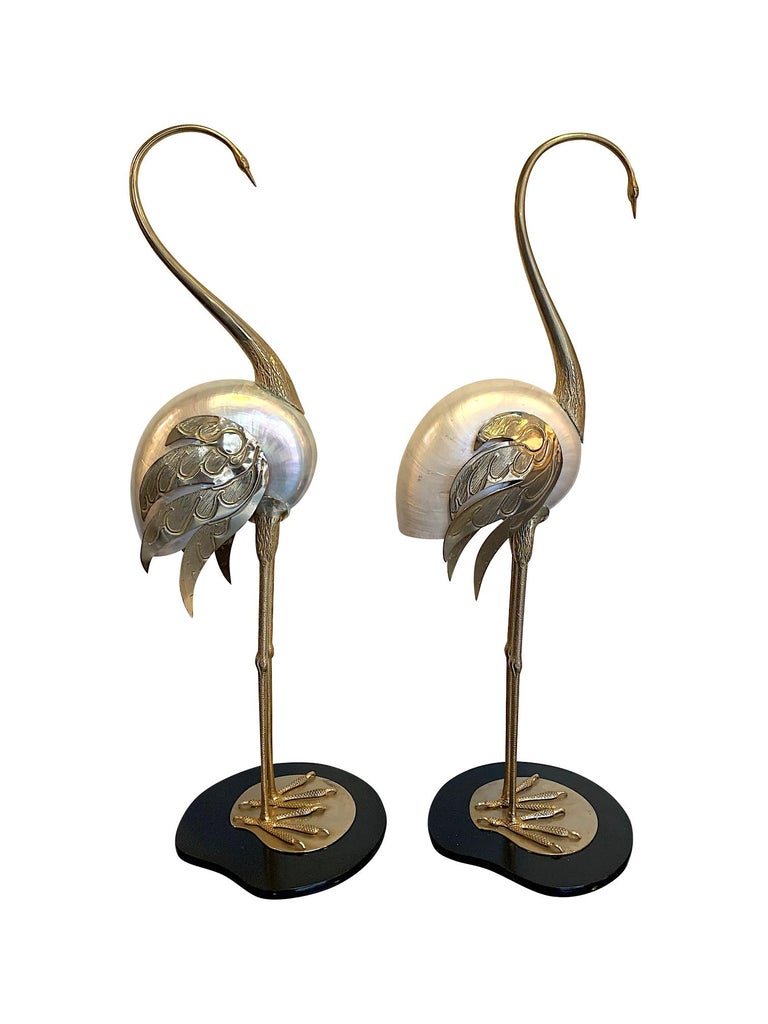 Lovely Pair of 1970s Brass and Real Nautilus Shell Flamingos by Antonio Pavia For Sale 4