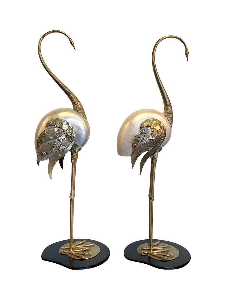 Mid-Century Modern Lovely Pair of 1970s Brass and Real Nautilus Shell Flamingos by Antonio Pavia For Sale