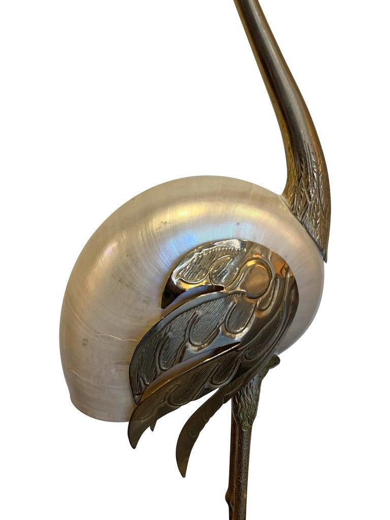 Italian Lovely Pair of 1970s Brass and Real Nautilus Shell Flamingos by Antonio Pavia For Sale