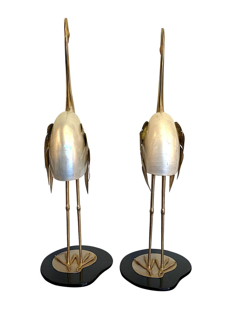 Lovely Pair of 1970s Brass and Real Nautilus Shell Flamingos by Antonio Pavia In Good Condition For Sale In London, GB